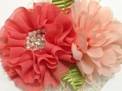 Tiara con flores de gasa prefabricadas VIDEO No. 442creacionesrosaisela