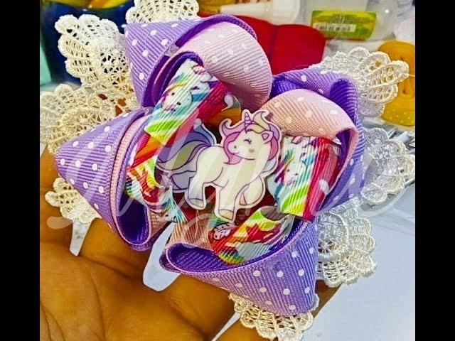 Como hacer un moño boutique con liston estampado,moño unicornio,lazos,cintillos,diademas