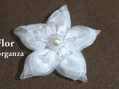 #Flor de organza con botón y cristalitos# Organza flower with button and crystallites