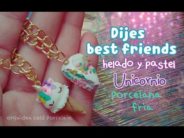 Haz unos collares de amistad Helado y Pastel Unicornio???? PORCELANA FRIA Dijes best friends