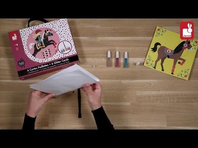 Manualidades colorea mundo de los caballos con purpurina de Janod en Eurekakids