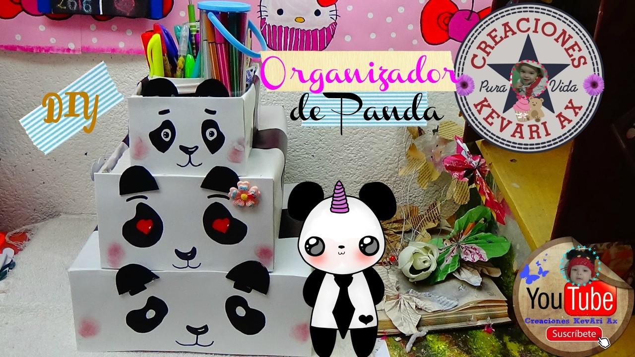 Organizador Reciclado de Panda????.♻ DIY Recycled Craft: PANDA ORGANIZER