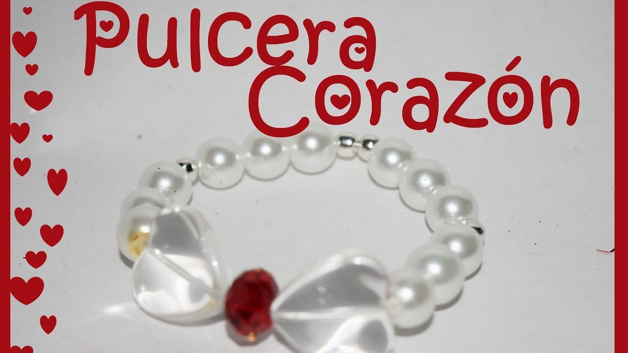 Pulcera Corazon de Perlas y Cristal