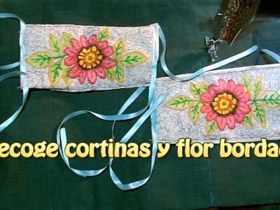 Recoge cortinas y flor bordada|Creaciones y manualidades angeles