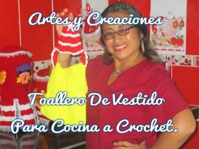 TOALLERO DE VESTIDO PARA COCINA TEJIDO A CROCHET