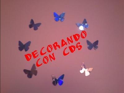 Wall art con Cd´s Mariposas decorativas