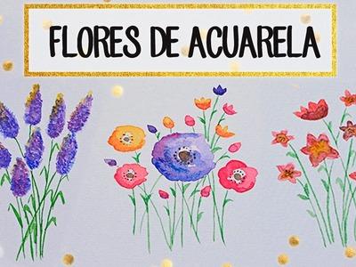 Aprende a dibujar FLORES de ACUARELA - A dibujar #05