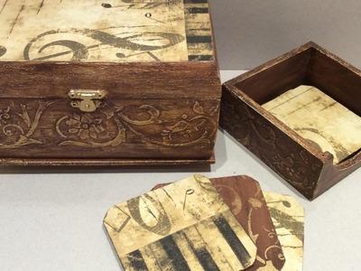 Caja y posa-vasos envejecidos con decoupage