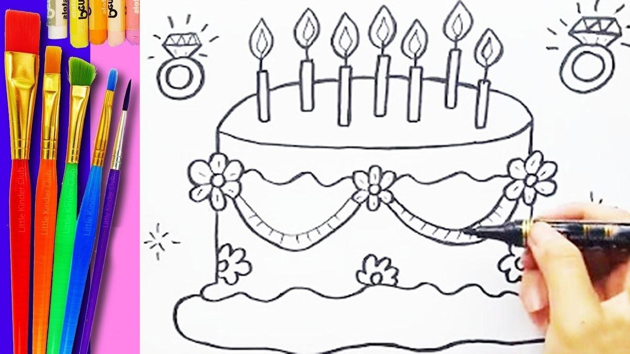 Como Dibujar Y Colorear Un Pastel Dibujos Para Niños