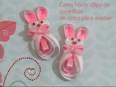 Como hacer clips de conejitos de cinta para pascua (easter bunny clips)