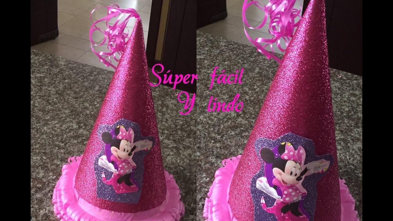 Como hacer un gorrito para cumpleños Minnie Mouse facil, hat birthday