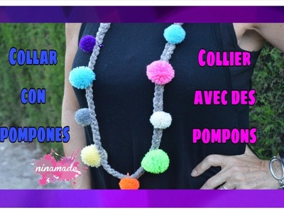 DIY. Collar Con Pompones. Collier  Avec Des Pompons. Necklace With Pompons