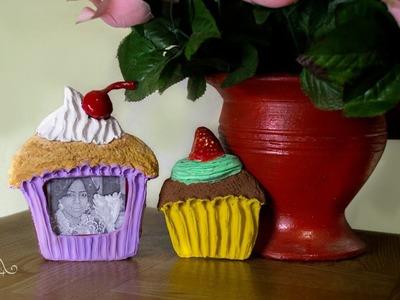 DIY Imán y Porta Retratos de Cupcake. Adornos.Cupcake Ornaments♥ CUPCAKE MAGNET & PICTURE HOLDER