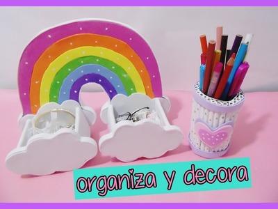 DIY - ROOM DECOR - unicornio arcoiris (Rainbows) y porta lapices