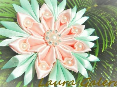 Flor kanzashi , pétalo nuevo!!! Tutorial Flower Kanzashi  Цветок ручной работы  Flor de fita