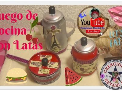 Juego de Cocina con Latas de aluminio (Olla,Sarten,Cafetera).Miniature Kitchen Accessories