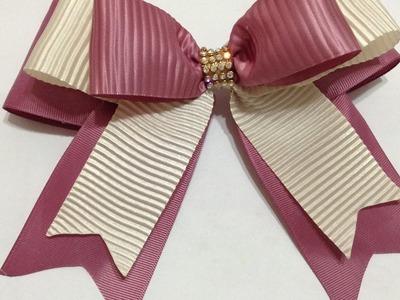Lazo elegante con listón plisado  en palo de rosa y beige VIDEO No. 445creaciones rosa isela