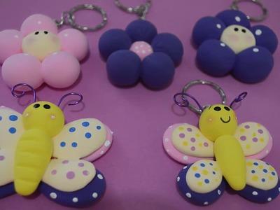 Llaveros de flor y mariposa en Fomi Moldeable !!!