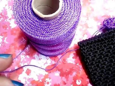 Monedero tejido en puntada la espiga
