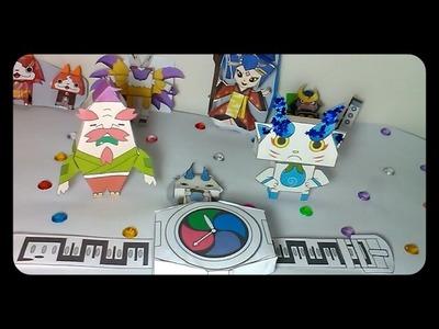 Reloj Yo-kai Watch de Papel y muñecos Komasura Manualidad
