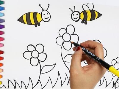 Abejas y Flores | Cómo dibujar y colorear los para niños