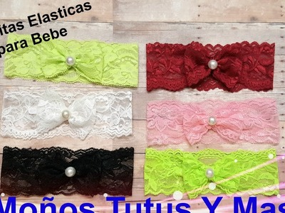 BANDITA DE ENCAJE ELASTICO Paso a Paso ELASTIC LACE BABY HEADBAND Tutorial DIY How To PAP Video 164