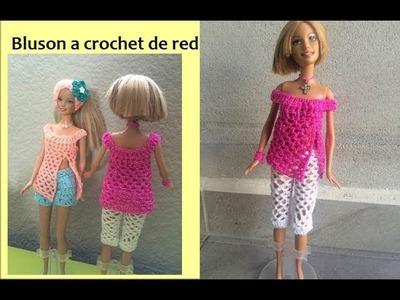 Bluson en red a crochet  para Barbie