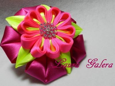 Bow Ribbon Flower - Moño con flor para niña - Laço de fita com flor  Цветок ручной работы