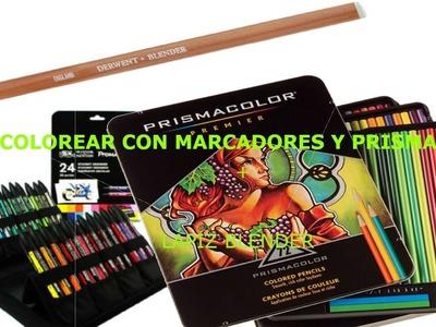 Cómo colorear con marcadores y prismacolor + Lápiz Blender-MagicBocetos