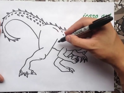 Como dibujar a indominus rex  how to draw indominus rex   jurasic world