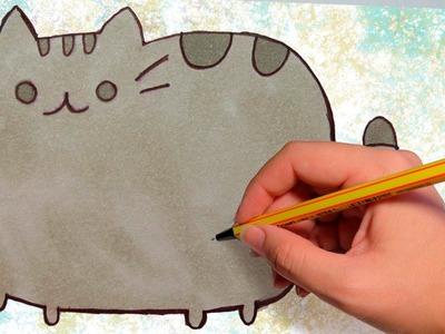 COMO DIBUJAR A PUSHEEN THE CAT: Dibuja facil paso a paso
