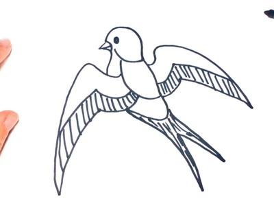 Como dibujar un Golondrina paso a paso | Dibujo facil de Golondrina