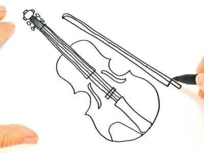 Como dibujar un Violin paso a paso | Dibujo fácil de Violin
