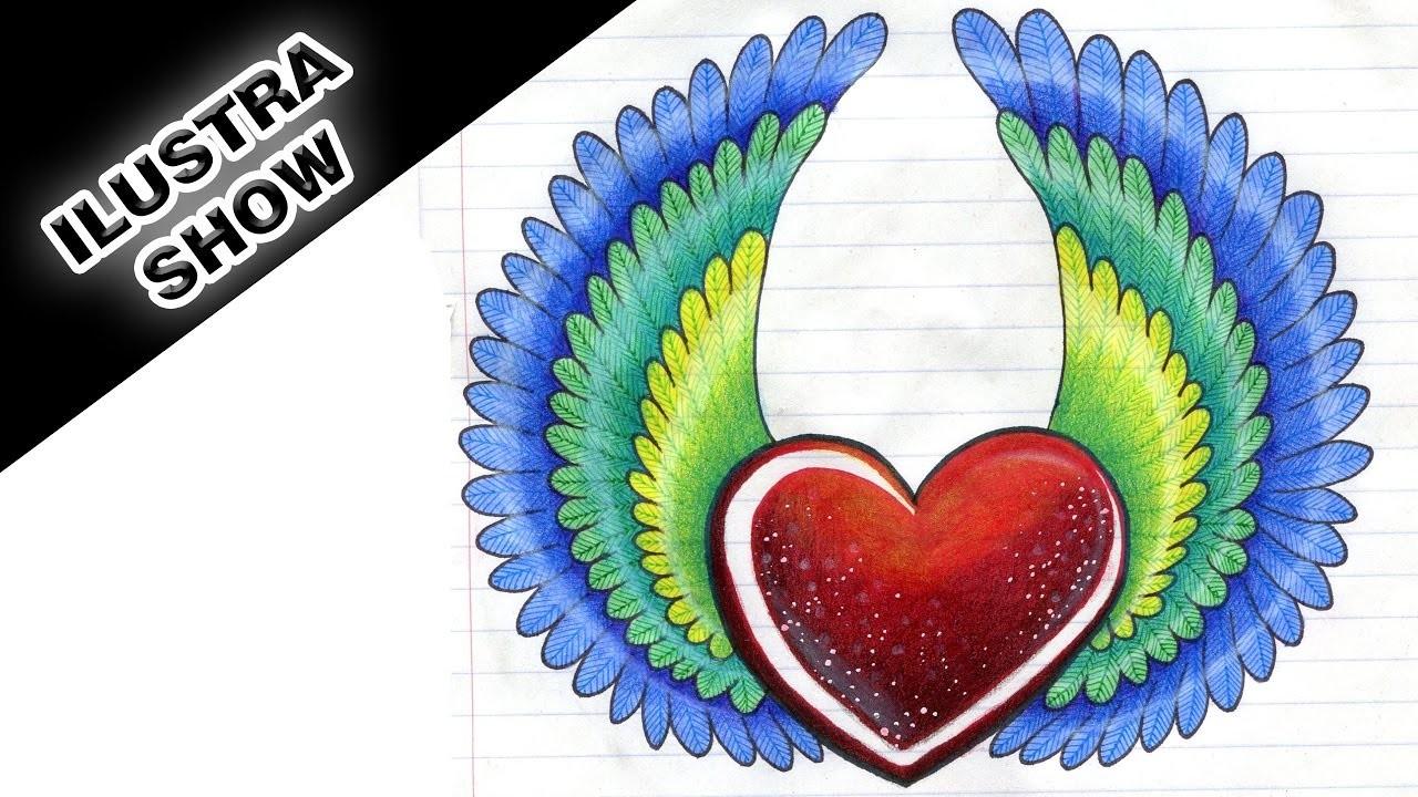 Como dibujar y colorear un CORAZÓN con Alas de Colores Corazones Tutorial ILUSTRA SHOW