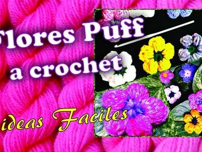 Como tejer flores puff a crochet: 2 ideas Faciles (Flores con relieve-principiantes)