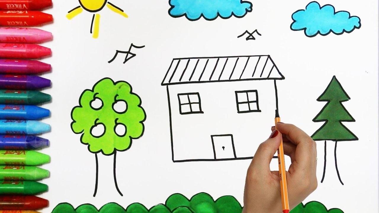 El Sol Y La Nube Con Casa árbol Cómo Dibujar Y Colorear Los Para Niños