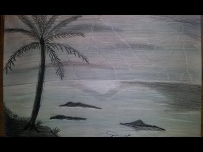 How to draw Pencil landscape with sea and palm thunder, Como dibujar Paisaje a lápiz truenos y palma