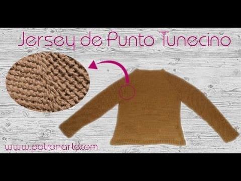 Jersey de punto tunecino desde el cuello y sin costuras paso a paso