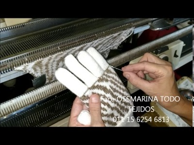 Tejiendo guantes con jackard con OSSMARINA parte 6