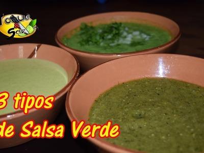 """3 tipos de Salsa Verde """"cruda, asada y tipo guacamole"""" (TOQUE Y SAZÓN)"""