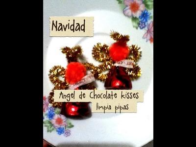Ángel de Navidad de chocolate kisses y limpia pipas, fácil