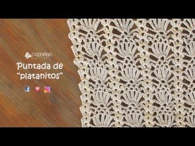 Crochelines -puntada de platanitos- muy sencilla y rápida