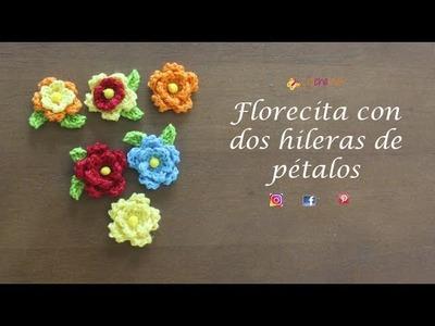 Flores de doble hilera de petalos - Crochelines-