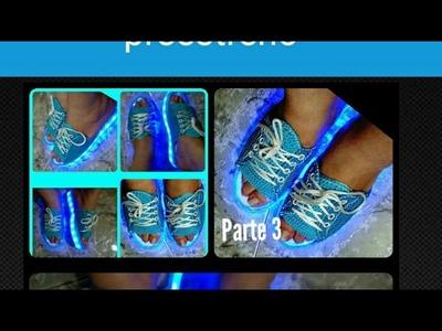 Sandalias tejidas tipo converse, fácil y bien explicado PARTE 3