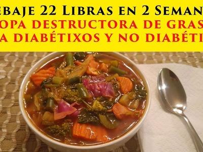 Sopa Destructora De Grasa Para Diabeticos y No Diabeticos. Rebaja 22 Libras en 15 Dias