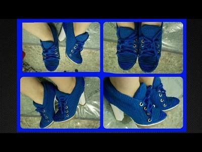 Zapatos tejidos a crochet tipo tenis zapatilla Parte 1