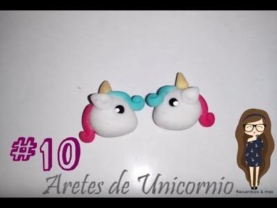 #10 Aretes de unicornio porcelana fría. ♥
