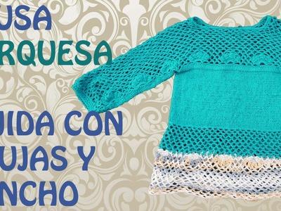 Blusa Turquesa Tejida con Agujas y Gancho