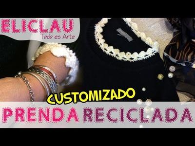 Borde fácil para Customizar. Reciclar | An easy border to customize a garment | EliClau