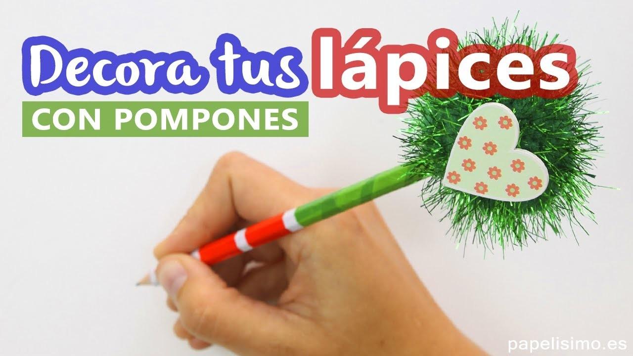 Cómo decorar lápices con pompones y washi tape